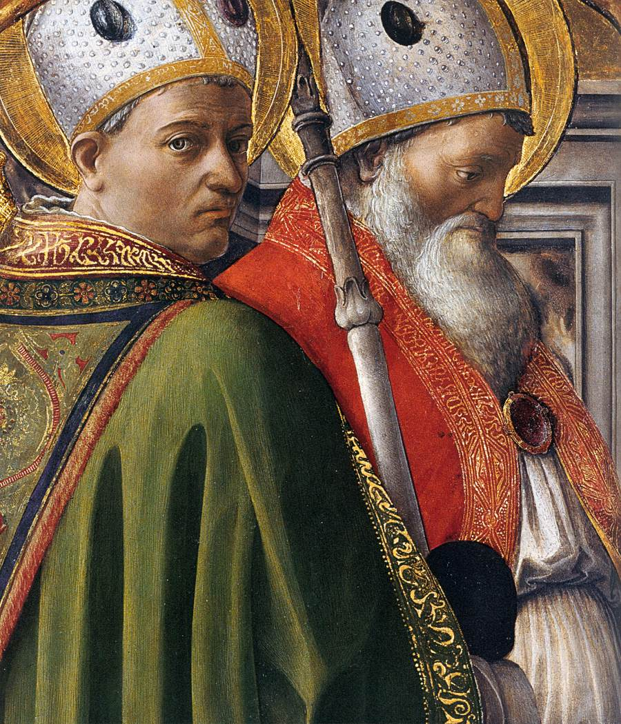 Saints Augustine and Ambrose, detail from a tempera painting by Fra Filippo Lippi (public domain). These two great 4th-century theologians model respectful debate over biblical and theological questions. (Ambrose was Augustine's mentor and friend.)