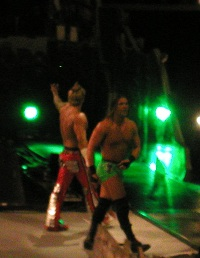 Kazarian and Shannon Moore after winning a match at a taping of Velocity