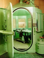 Executions in California were carried out in the gas chamber at San Quentin State Prison. It was modified for the use of lethal injection, but has been returned to its original designated purpose, with the creation of a new chamber specifically for lethal injection.