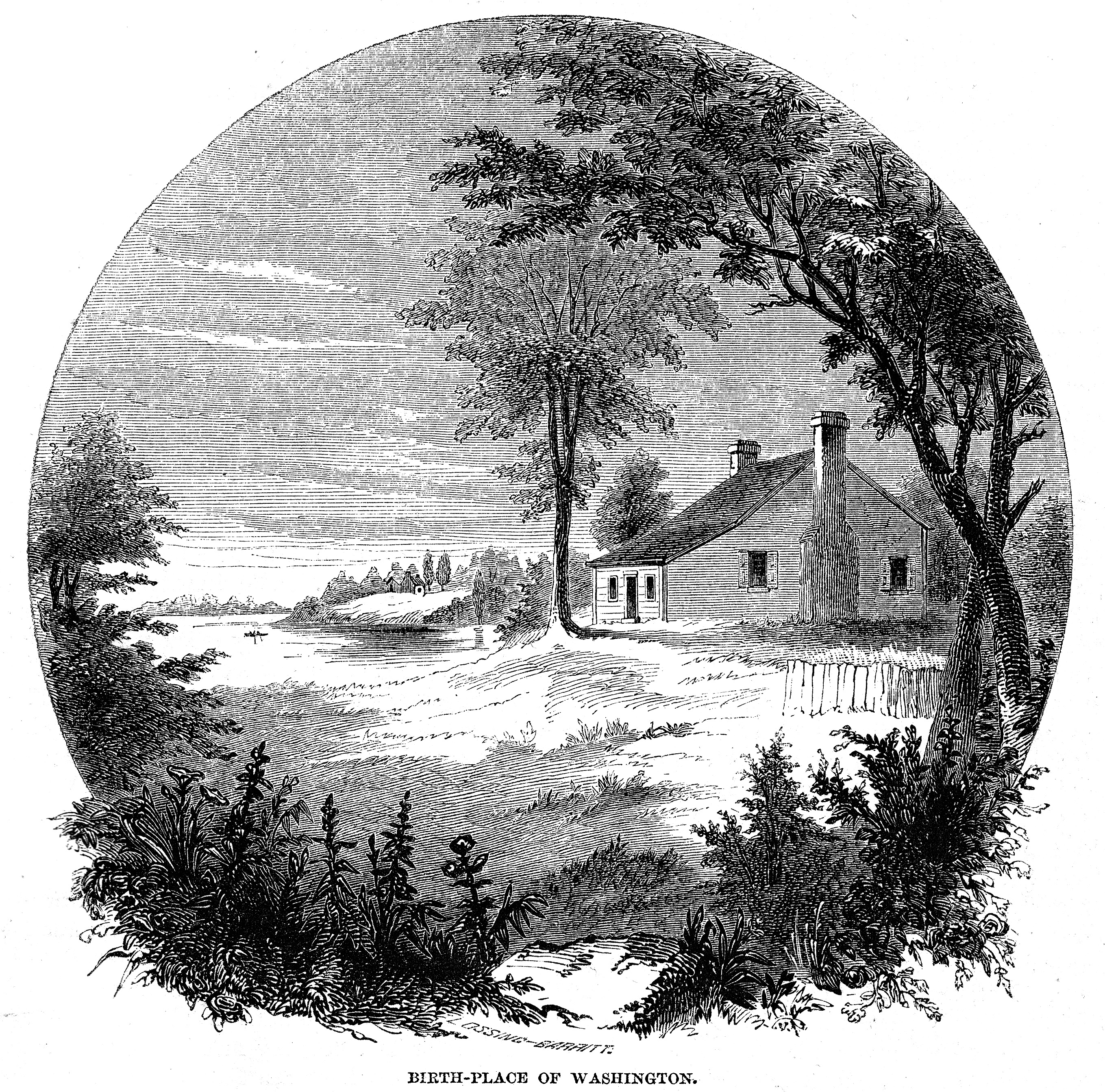 Benson J. Lossing & William Barritt: George Washington's birthplace (engraving) 1856