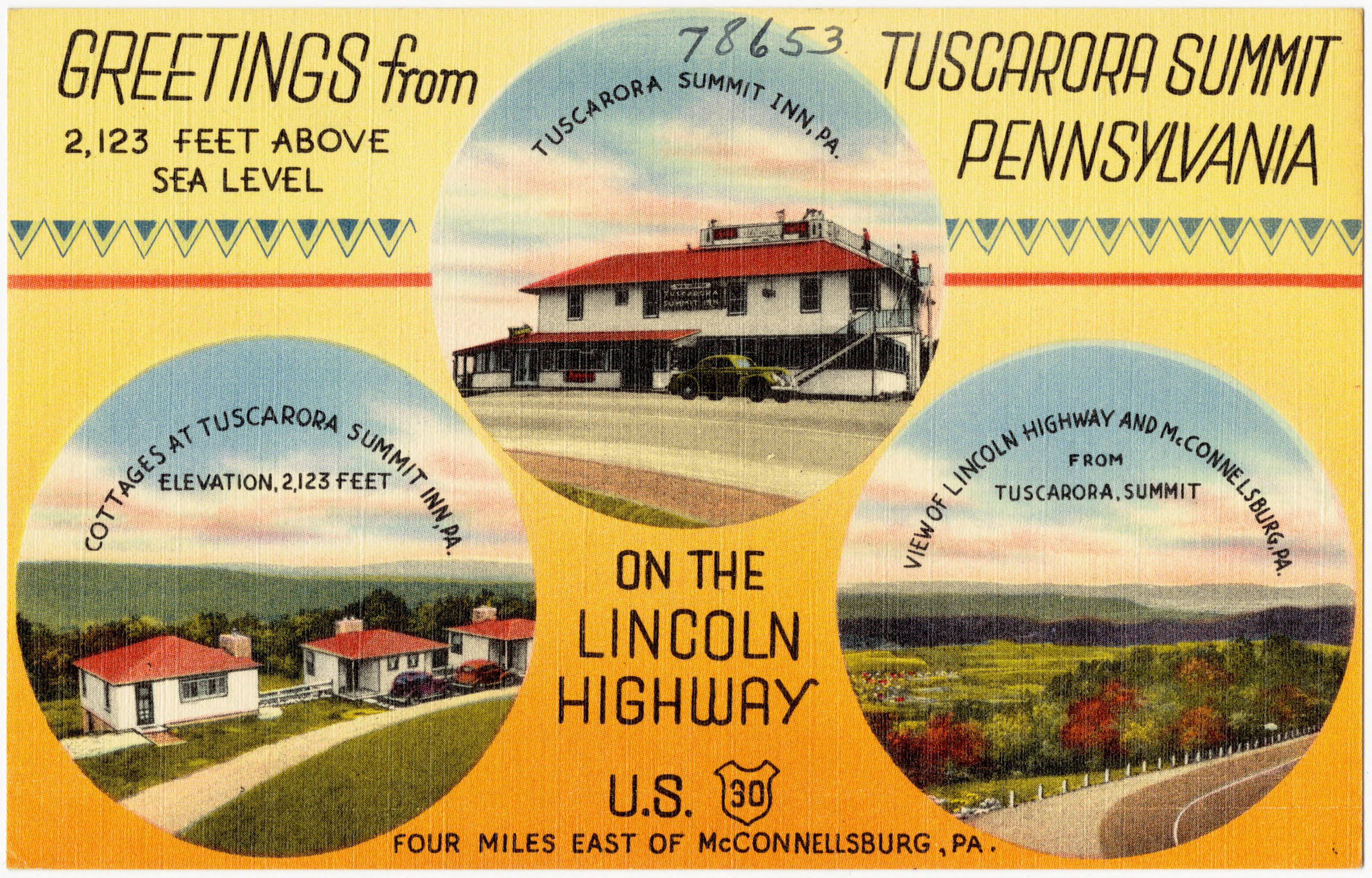 File:Greetings from Tuscarora Summit Pennsylvania, 2,123 feet above sea  level, on the