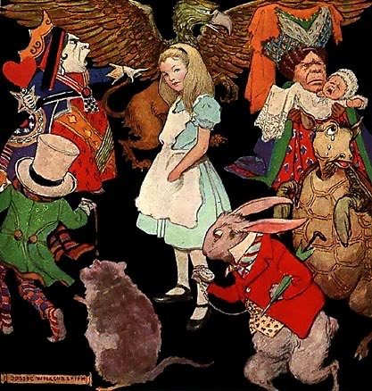 Jessie Willcox Smith's illustration of Alice surrounded by the characters of Wonderland (1923) Jessie Willcox Smith Boys and Girls in Bookland.jpg