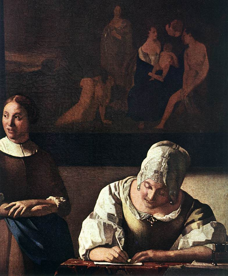 a woman writing a letter with her maidservant