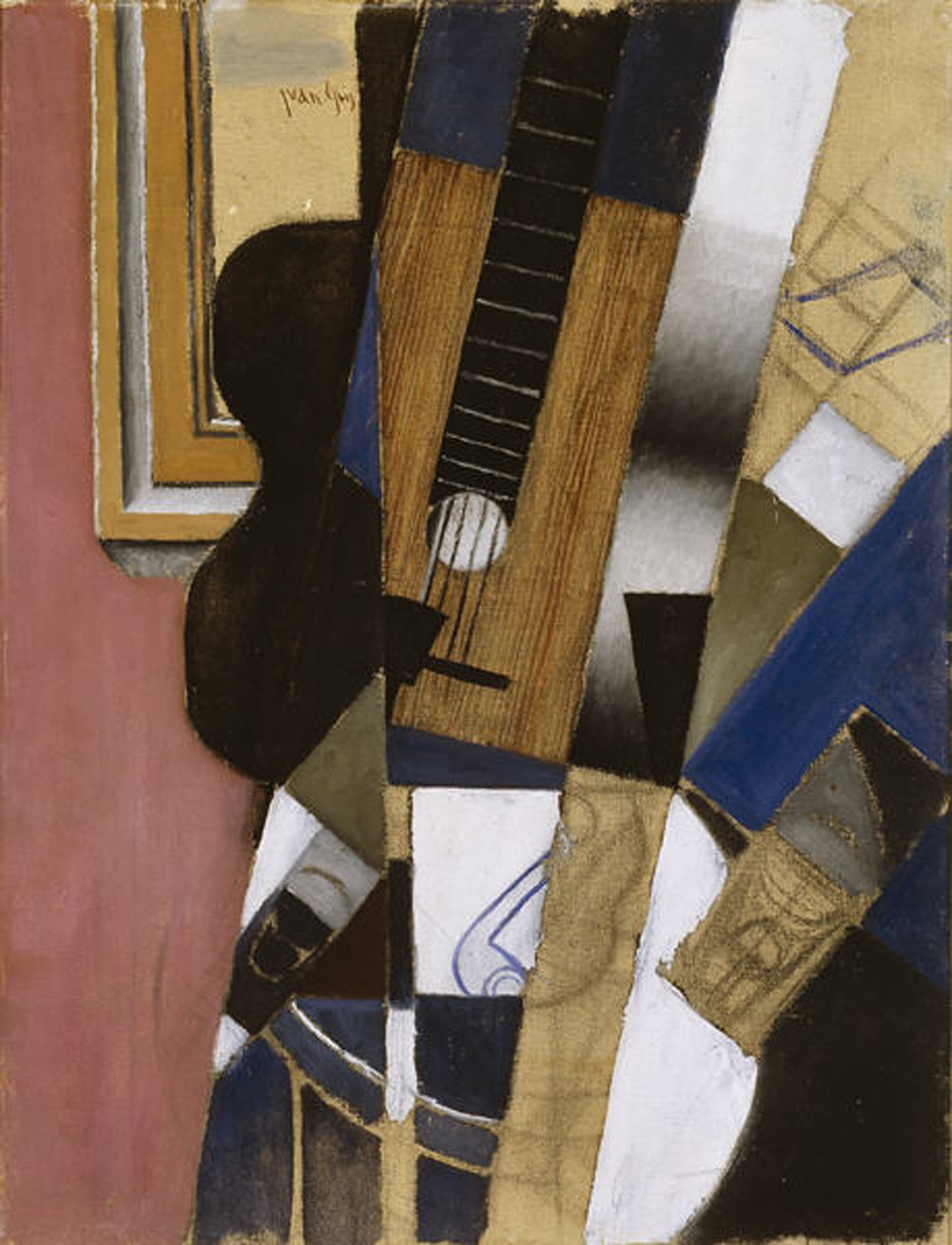 Image result for Juan Gris, Guitar and Pipe, 1913, oil and charcoal on canvas, Dallas Museum of Art, The Eugene and Margaret McDermott Art Fund, Inc.;