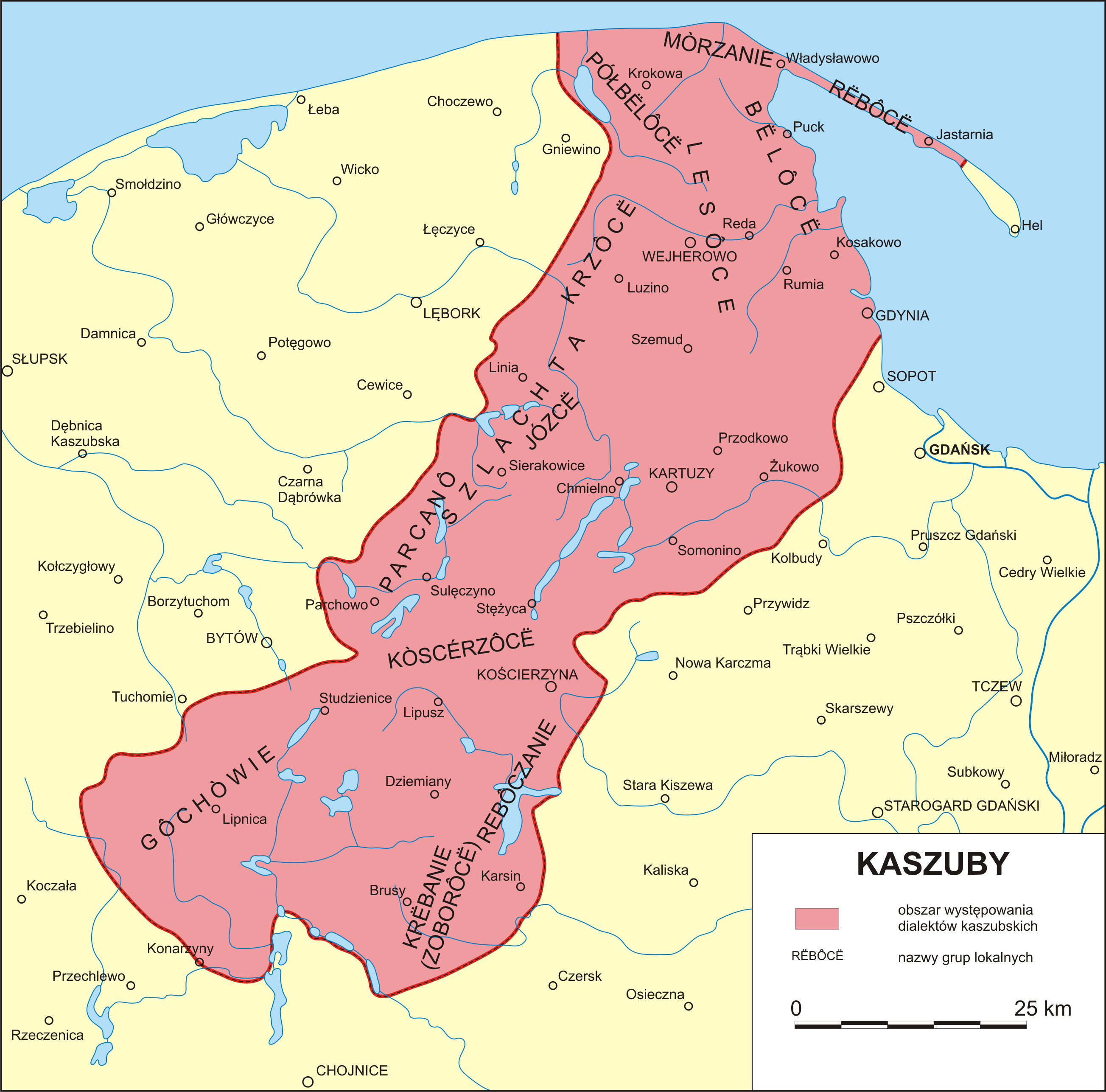Występowanie grup lokalnych na obszarze dialektów kaszubskich według Bernarda Sychty
