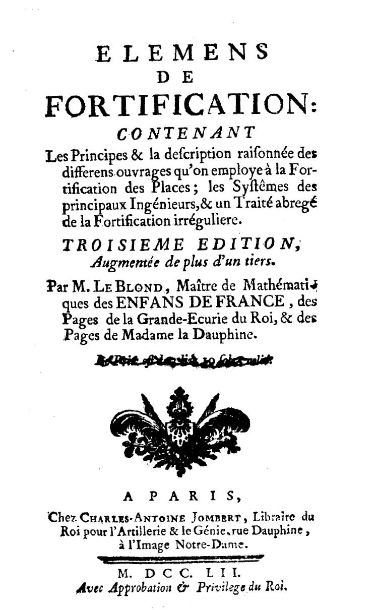 ''Eléments de fortification'', 1752