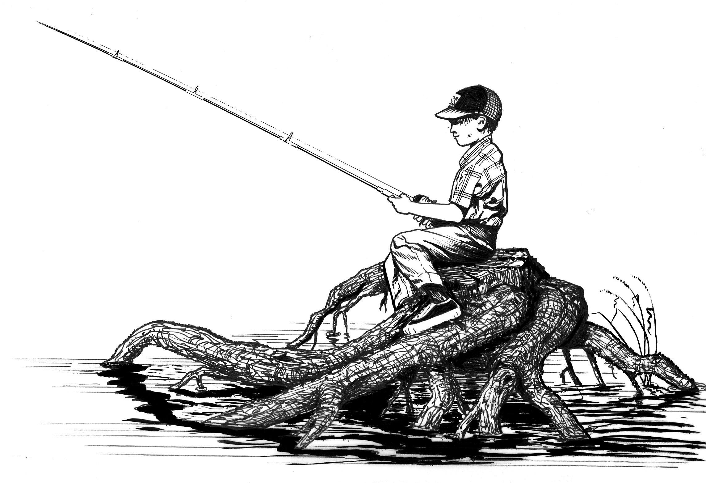 File line art of boy sitting on drift wood for Free line fishing