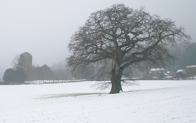 English: Little Malvern in the February Snow L...