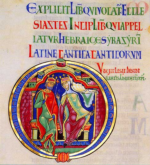 Bridegroom and bride, initial O from the Song of Songs