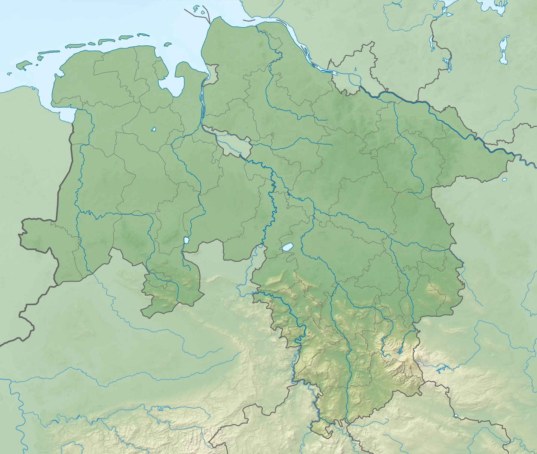 Physische Karte Niedersachsen.Datei Lower Saxony Relief Location Map Jpg Wikipedia