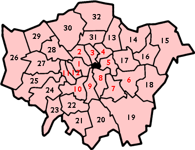 Map of London boroughs as per London Government Act 1963