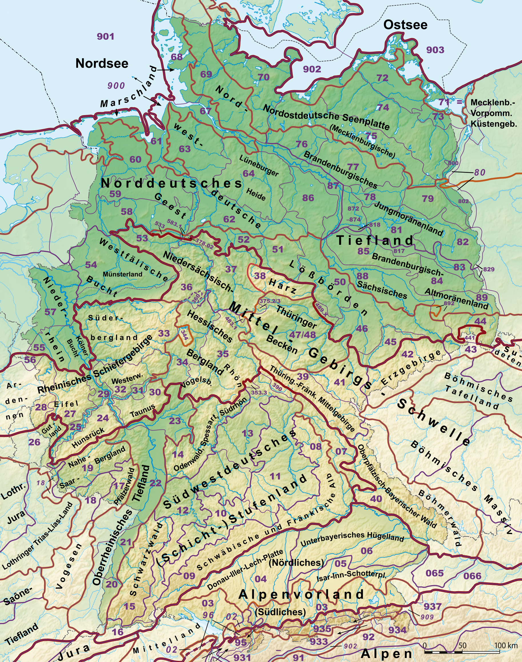 Regions Of Germany Map.Natural Regions Of Germany Wikipedia