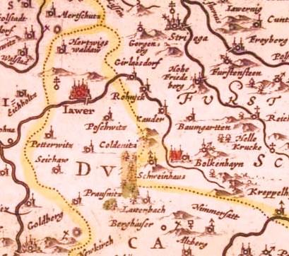 Stara mapa Bolkowa i okolic - zaczerpnięte z Wikipedii.