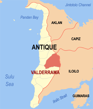 Map of Antique showing the location of Valderrama