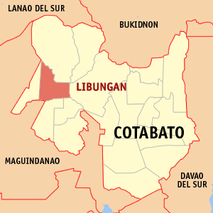 Map of Cotabato showing the location of Libungan