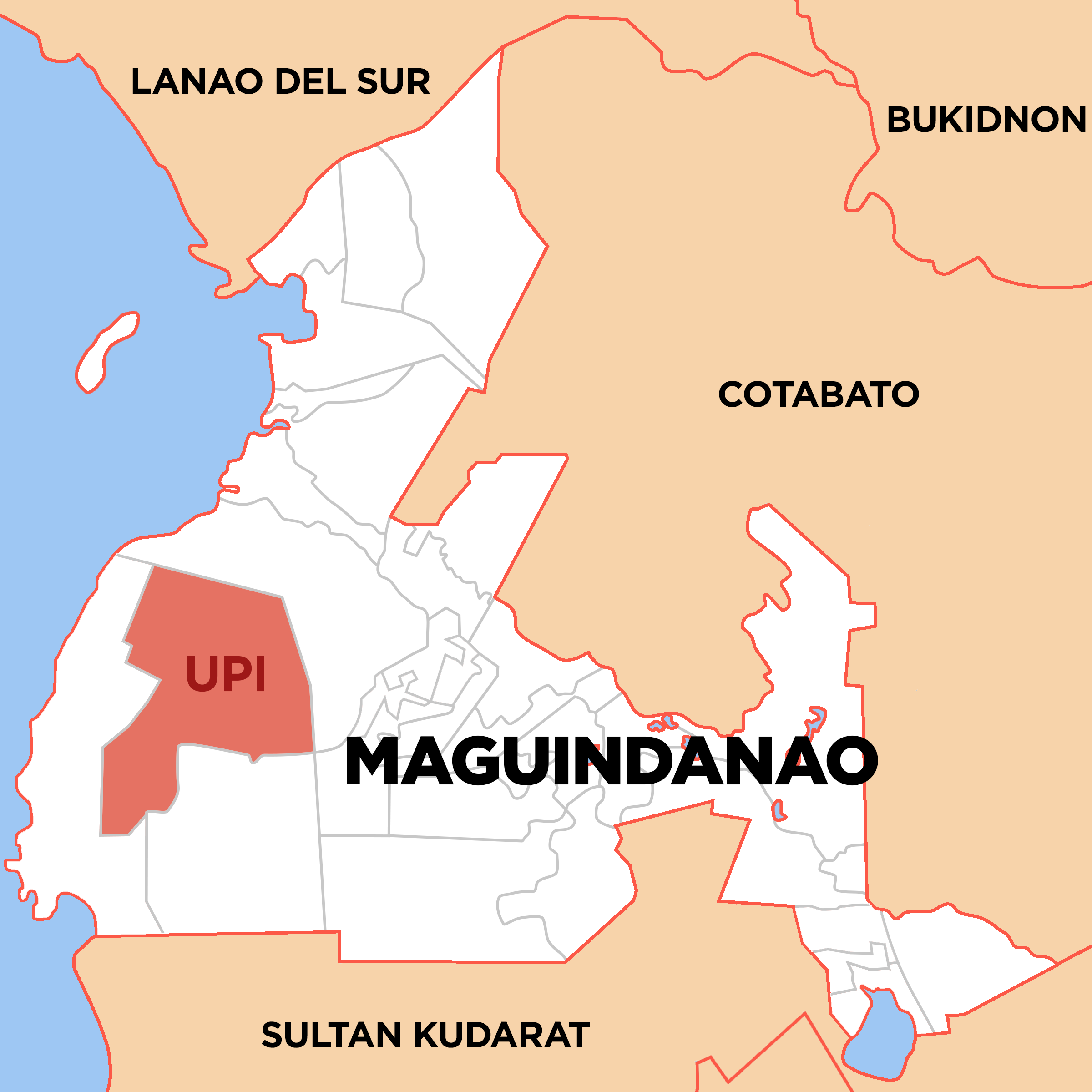 Map of Maguindanao showing the location of Upi