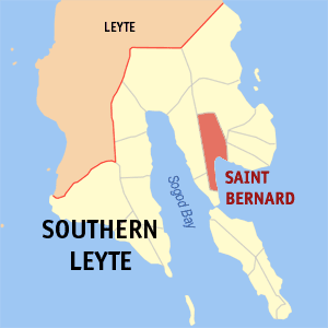Map of Southern Leyte showing the location of Saint Bernard