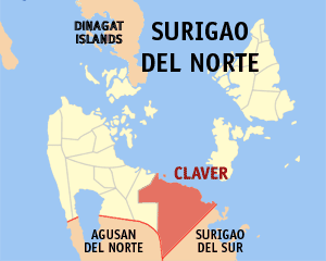 Map of Surigao del Norte showing the location of Claver