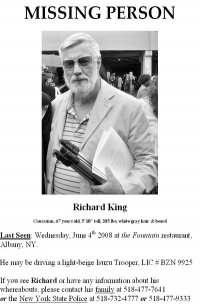 מודעה המבקשת את עזרת הציבור בחיפוש אחרי הנעדר ריצ'רד קינג.