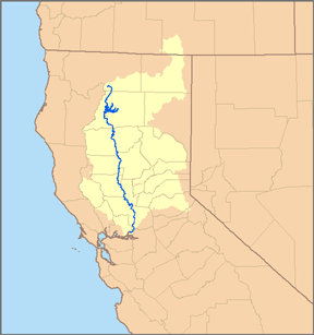 Map of the Sacramento River watershed.