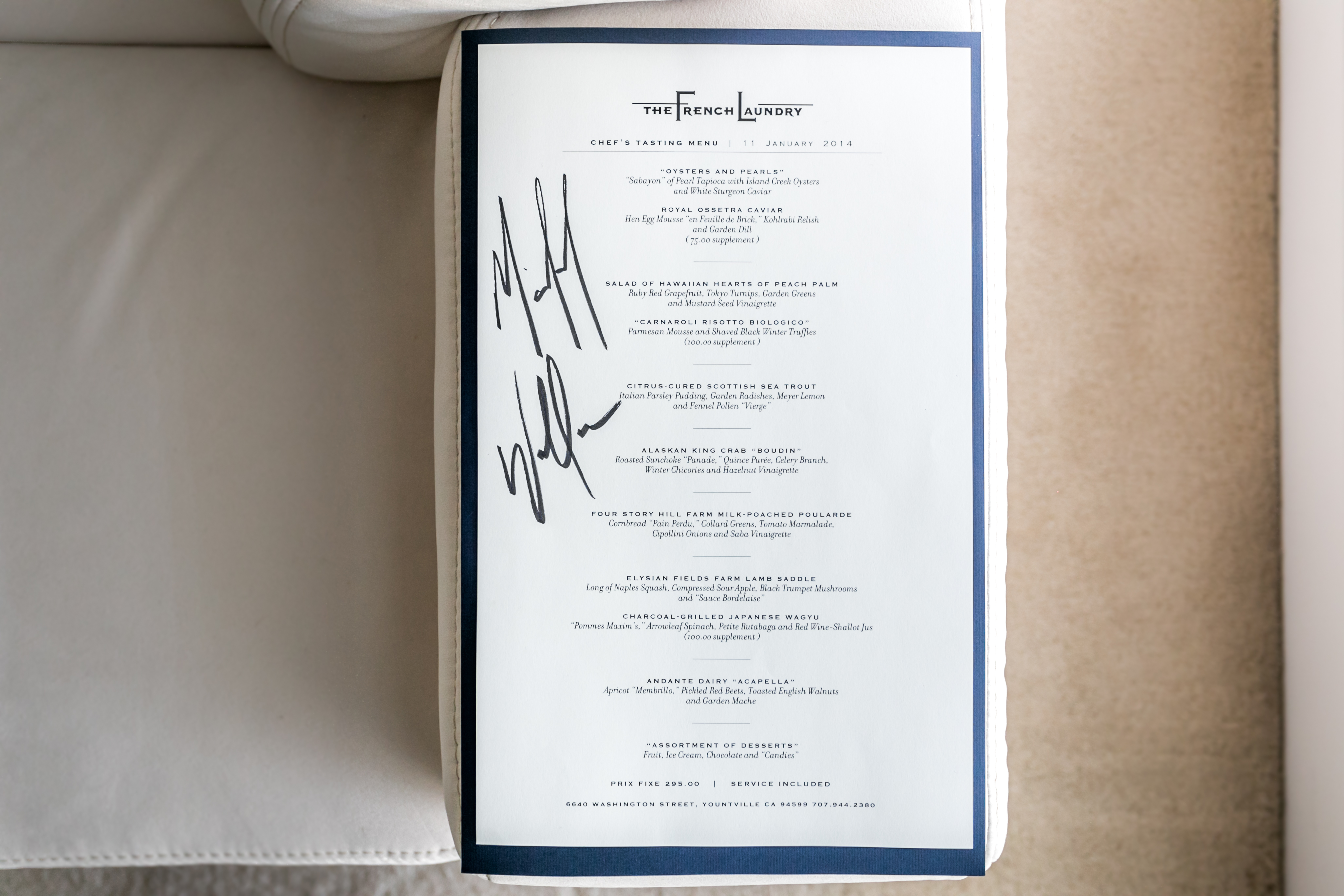Filethe French Laundry Menu Signed By Chef Michael Wallace