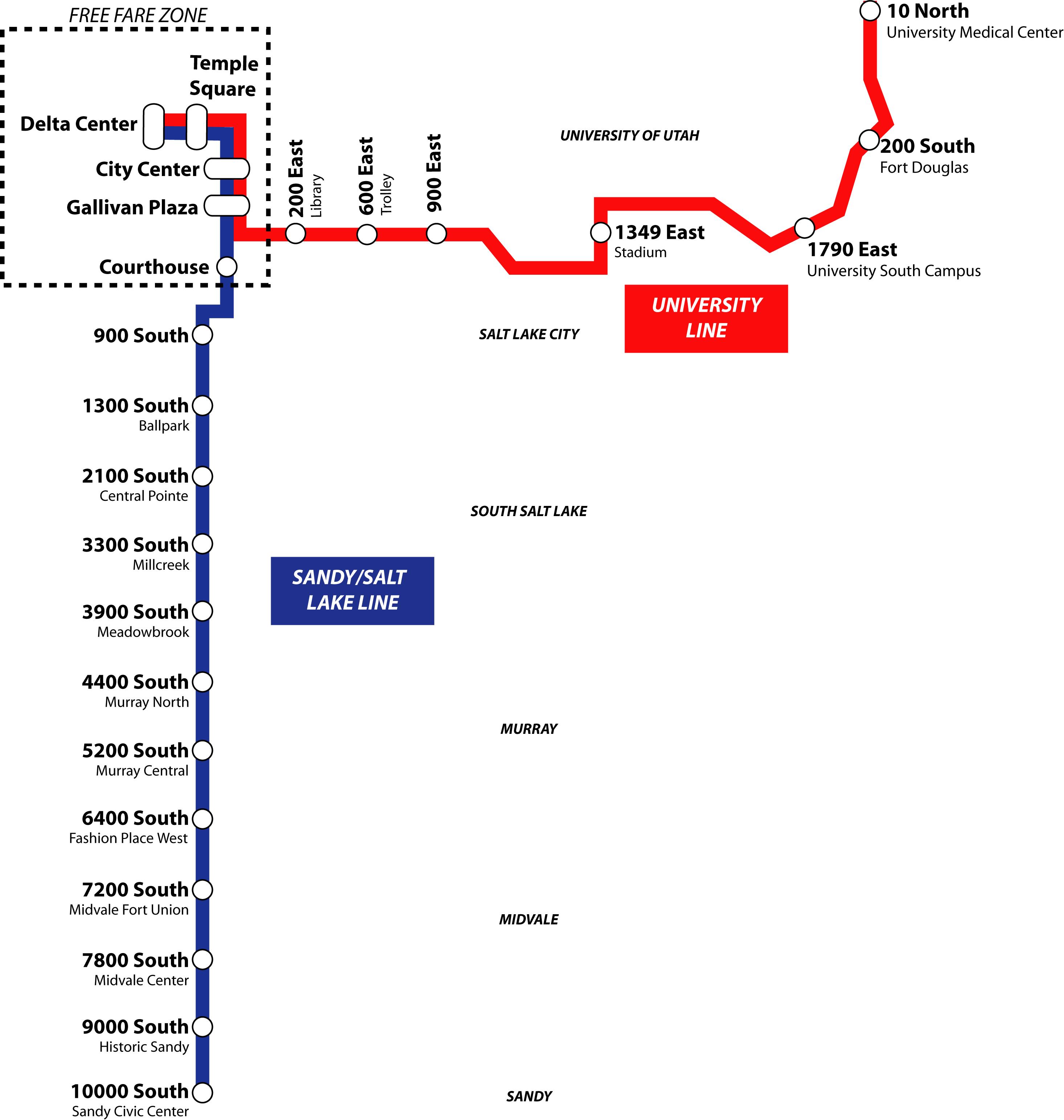 UTA TRAX line map