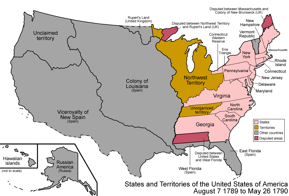 Fileunited States Png Wikimedia Commons Map Of The Us In 1790