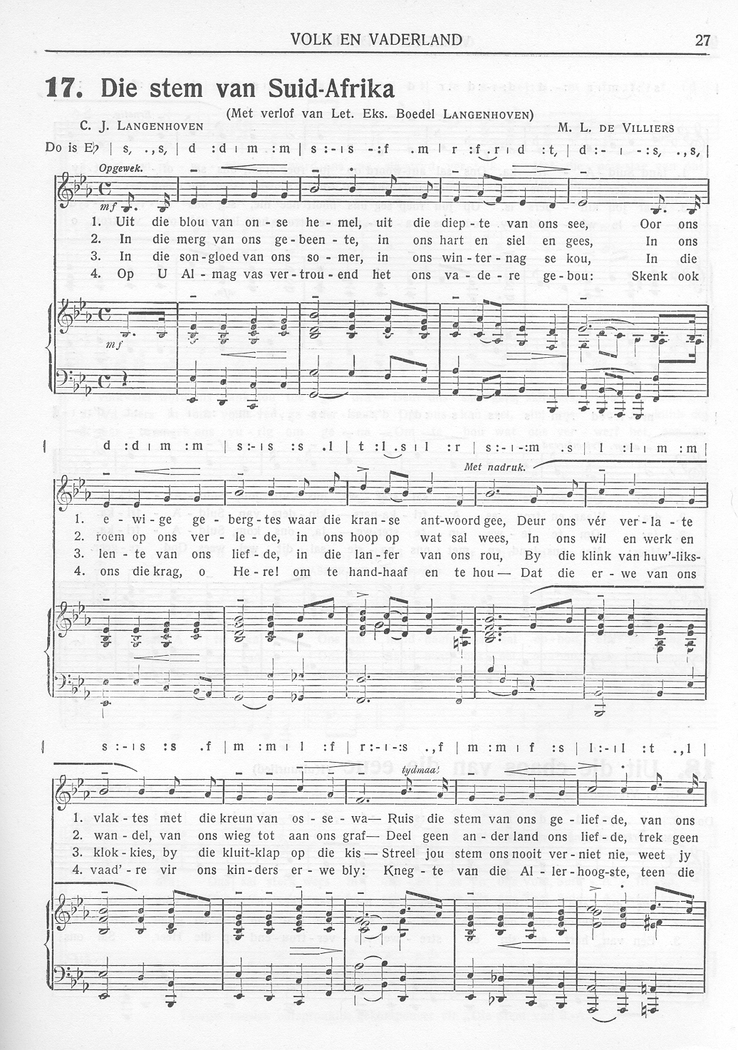 image about Black National Anthem Lyrics Printable named Die Stem van Suid-Afrika - Wikipedia