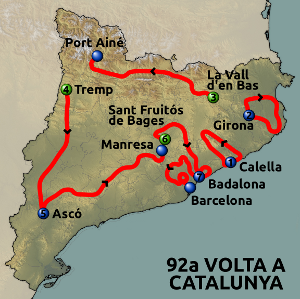The route of the 2012 Volta a Catalunya