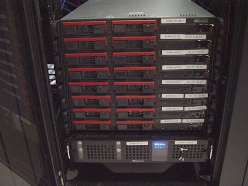 A server rack in a tower