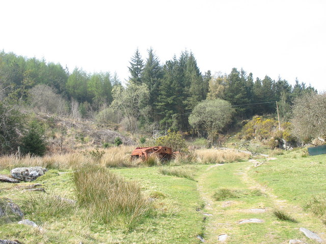 A rusting piece of agricultural machinery in a forest clearing - geograph.org.uk - 402516