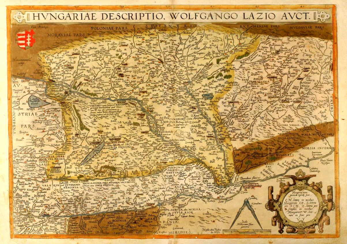 29661e3773 Abraham Ortelius magyar településeket ábrázoló földrajzi térképe a Magyar  Királyság területéről, amelyen Wolfgang Lazius 1556-ban felmért adatait és  ...