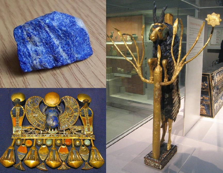 سمت چپ، بالا: نمونهای از سنگ لاجوَرد. سمت چپ، پایین: لاجورد بکار رفته در یکی از زیورآلات توتعنخآمون، یکی از فراعنهٔ مقتدر مصر باستان، ۱۳۵۲–۱۳۶۱ پیش از میلاد. سمت راست: لاجوَردِ بکار رفته در «قوچ در یک بیشه»، بدستآمده از مقبرههای شاهی شهر باستانی اور، میانرودان (بینالنهرین) باستان، عراق امروزی، ۲۵۰۰–۲۶۰۰ پیش از میلاد.
