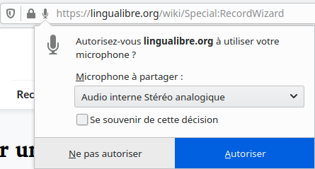 Screenshot of the dialogue box to allow Lingua Libre to use your microphone.
