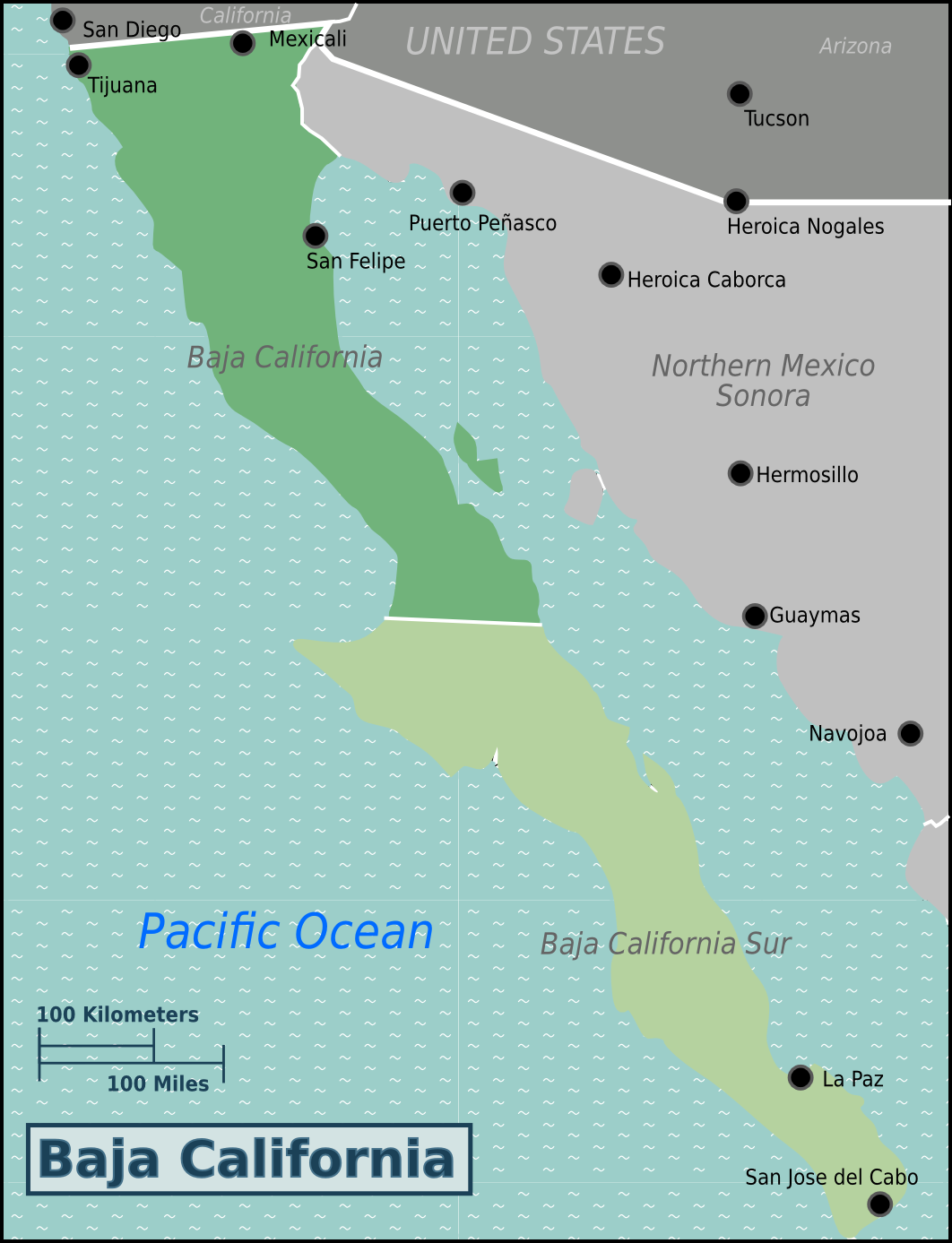 Baja california travel guide at wikivoyage for Beach cities in california