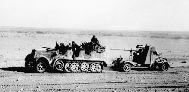 An 88 gun, towed behind an Sd.Kfz. 6/1