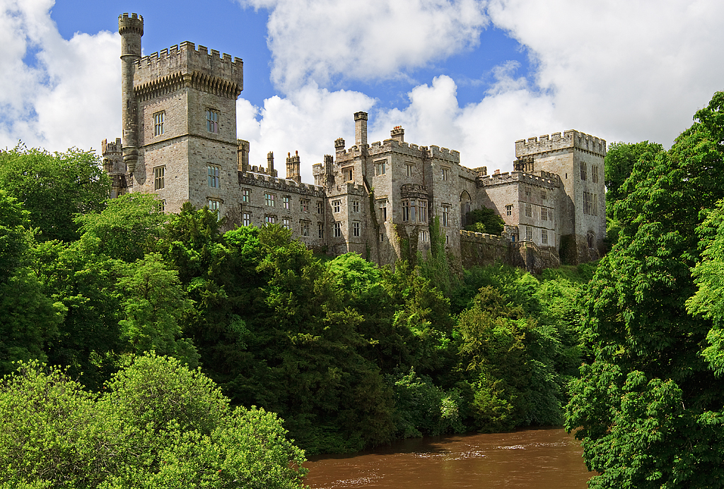Lismore Castle from the banks of the river