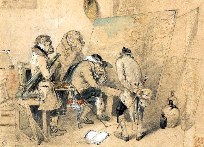 Rzeczoznawcy w pracowni malarza (Małpoludy badające obraz)