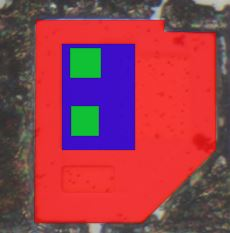 Die photo of double emitter NPN transistor from a Signetics 54S00 chip after delayering and annotation. The outer red region is the collector, the inner blue region is the base, and the two small green inner squares are the emitters.