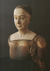 Elizabeth's painted wood funeral effigy (without clothes), 1503, Westminster Abbey