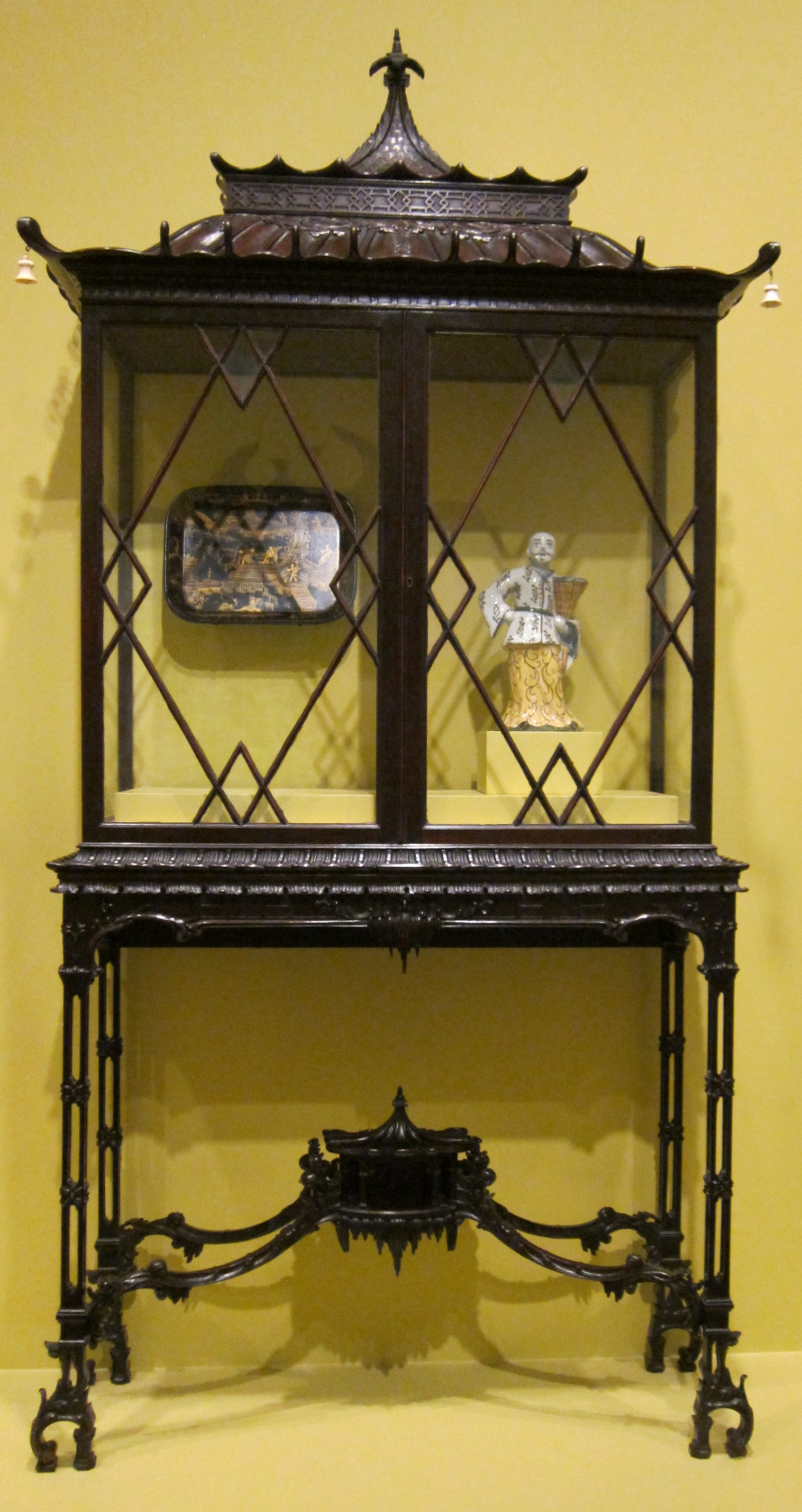 File:English cabinet on stand, after Thomas Chippendale, c. 1900 ...
