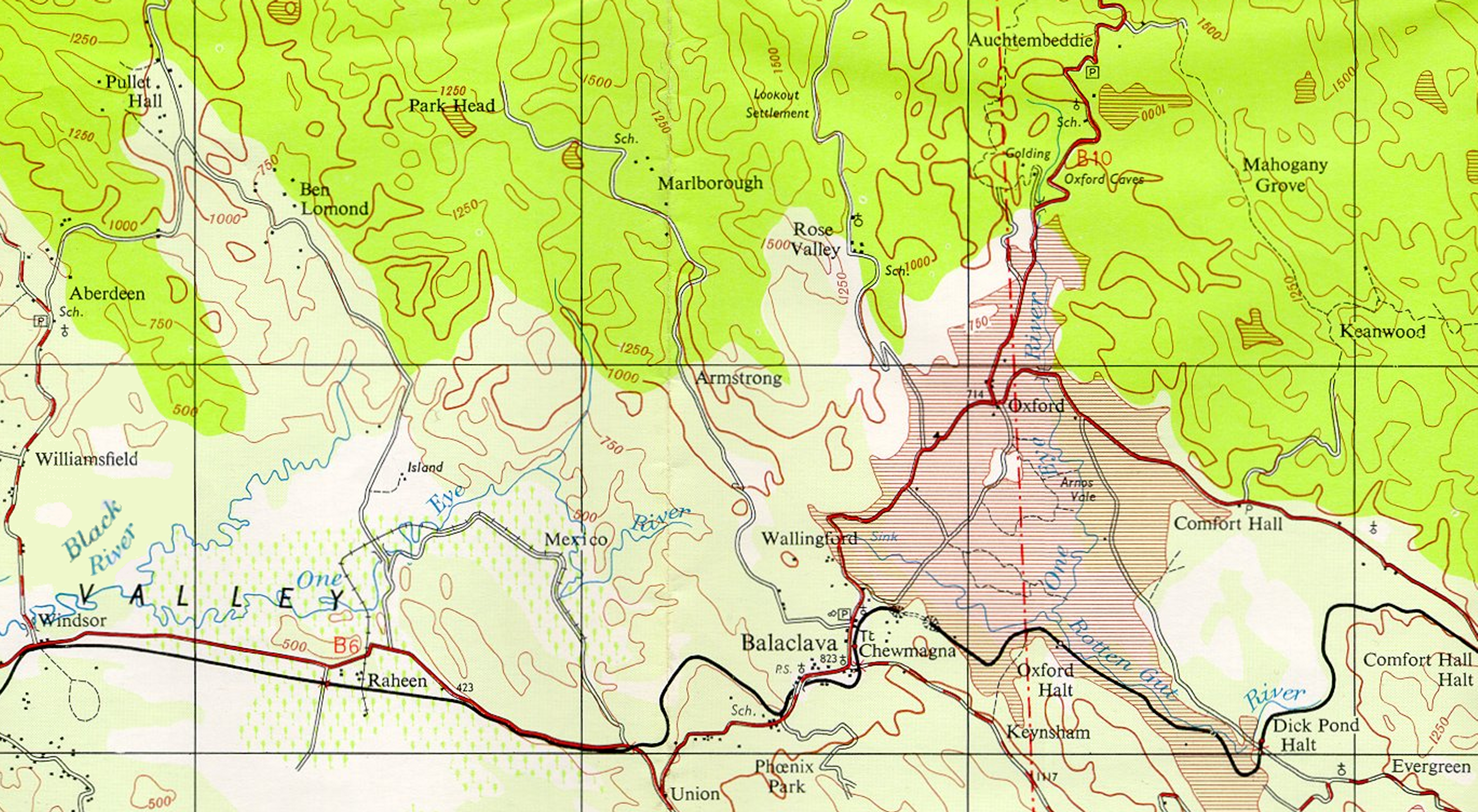 File extract showing one eye river from uk doos 50k map of jamaica