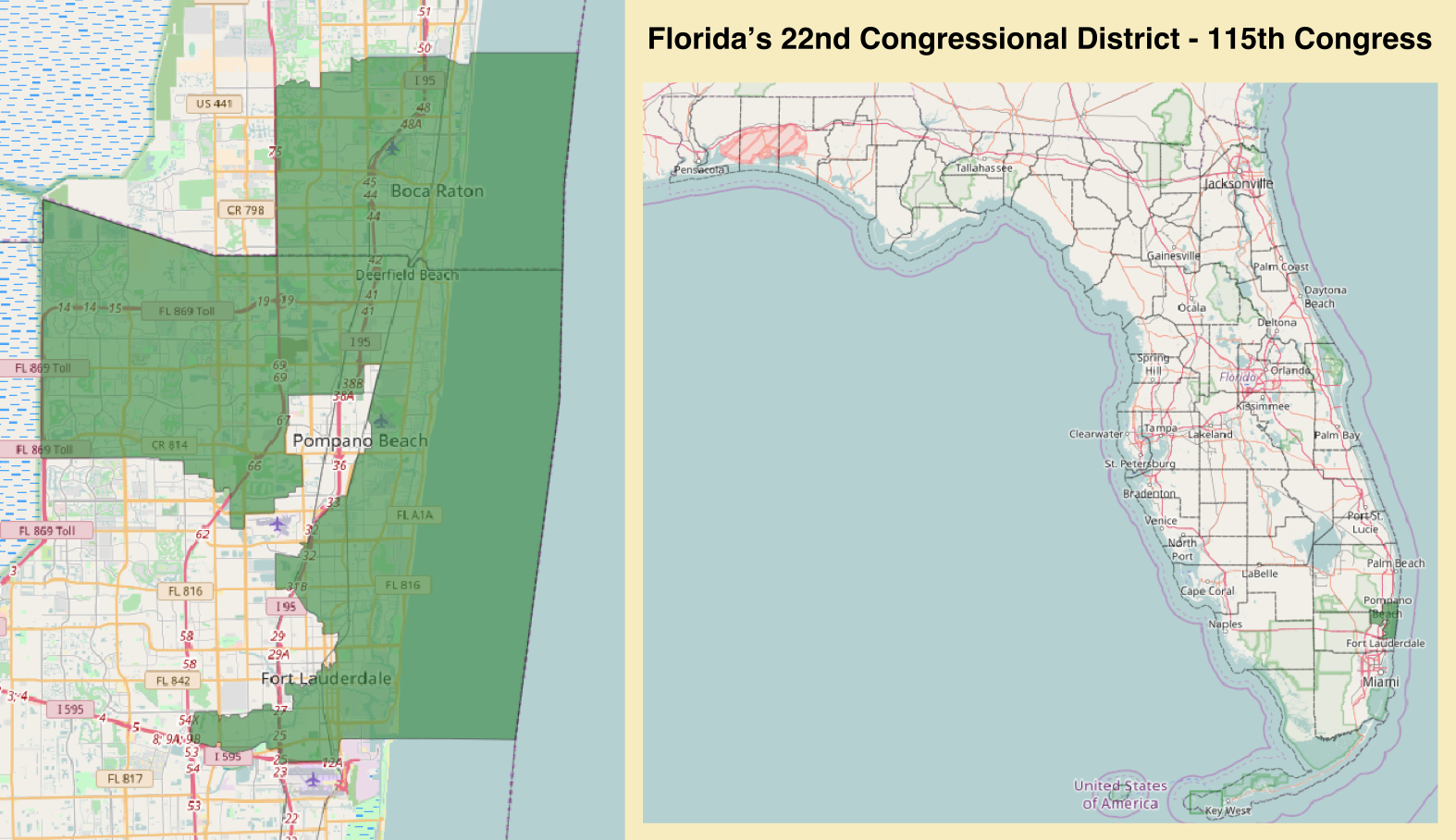 Map Of Florida Showing Boca Raton.Florida S 22nd Congressional District Wikipedia