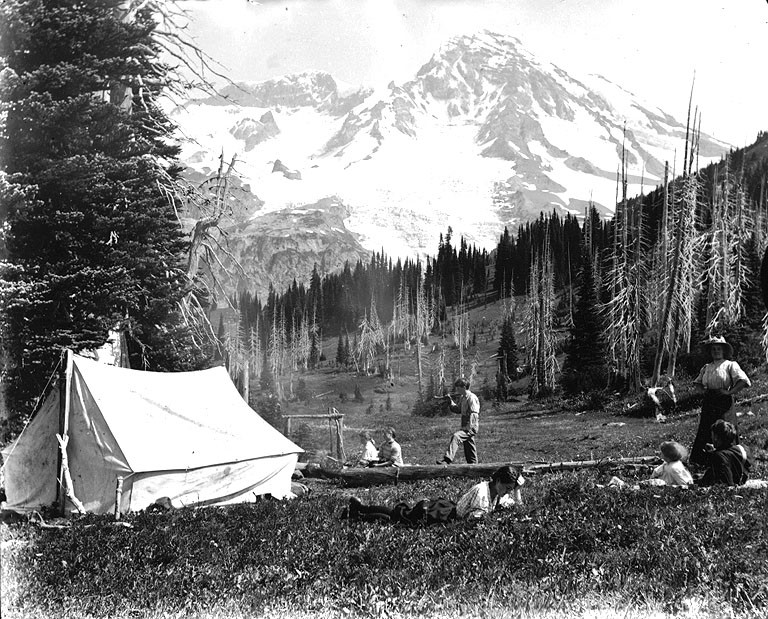 FileFamily c&ing with tent at Indian Henryu0027s Hunting Ground Mount Rainier National Park & File:Family camping with tent at Indian Henryu0027s Hunting Ground ...