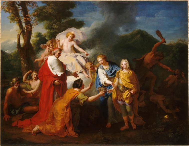 Alegoría del reconocimiento del duque de Anjou como rey de España, por Henri Antoine de Favanne (1704)