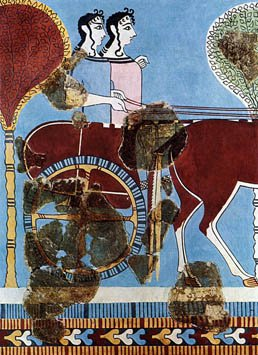 File:Fresco of two female charioteers from Tiryns 1200 BC.jpg