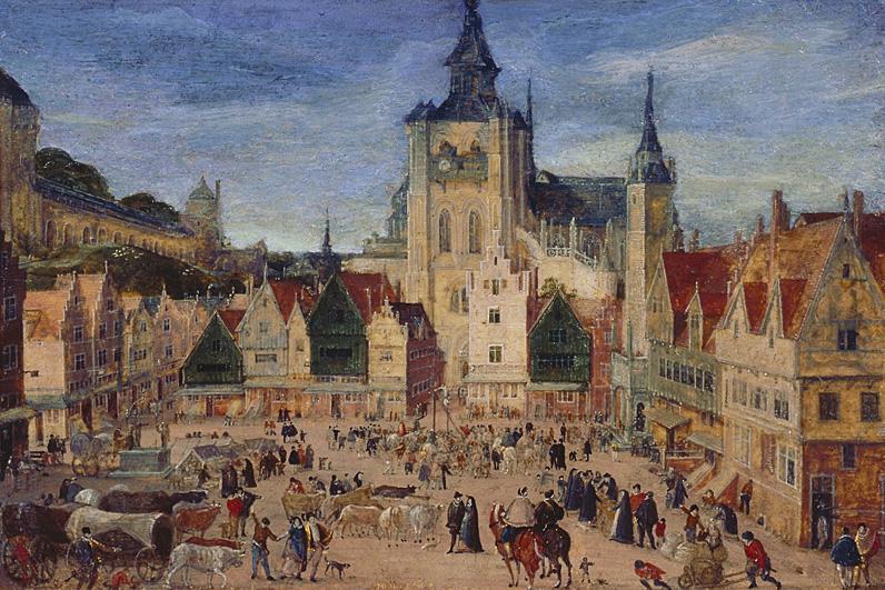 """Hans Bol - """"Grote Markt van Bergen op Zoom"""""""
