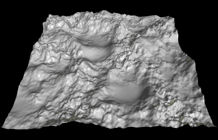 Heightmap (Source: http://en.wikipedia.org/wiki/File:Heightmap_rendered.png)