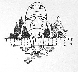 Humpty Dumpty sits on a wall, prior to his fall.