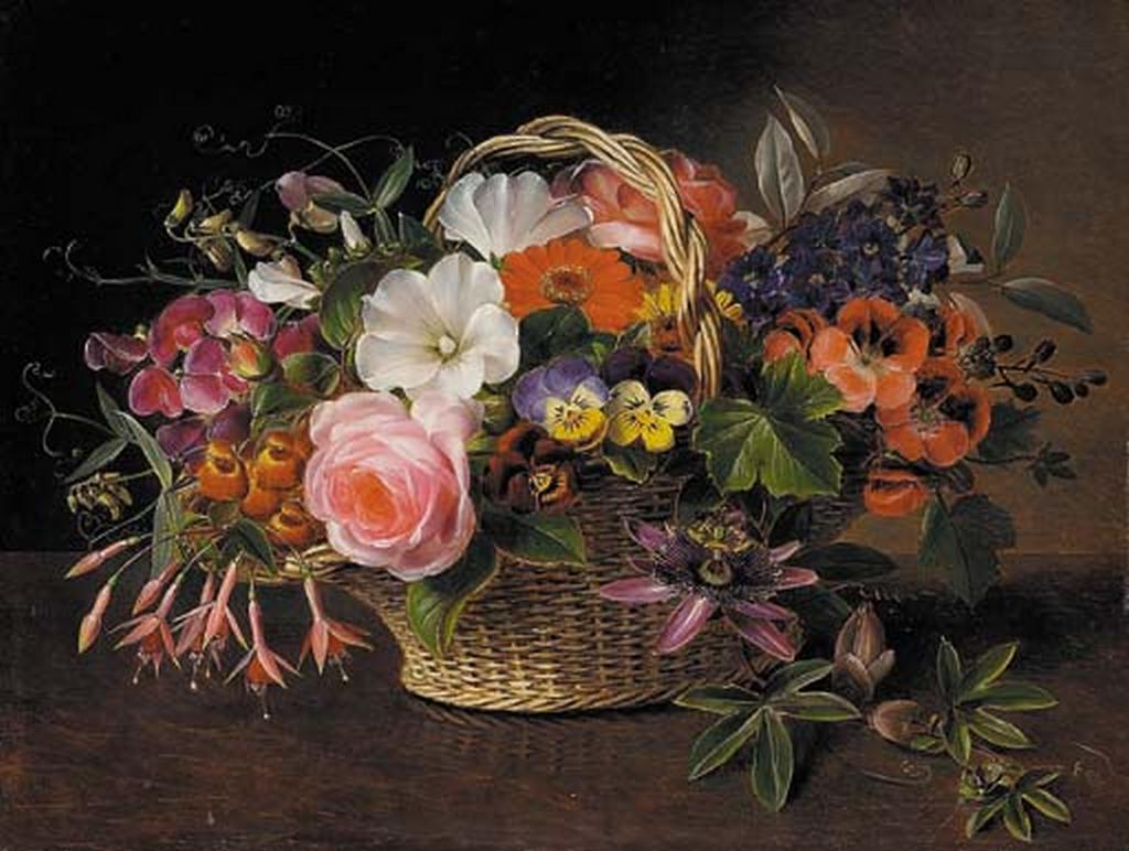 Johan Laurentz Jensen - Stedmoderblomster, fuchsia, snerler, en rose og andre blomster i en flettet kurv.png
